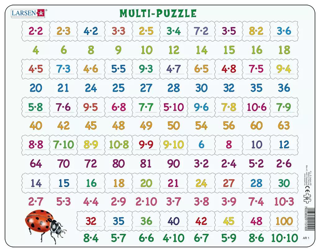 Купить Пазлы Larsen обучающий Математика Умножение 81 элемент AR1