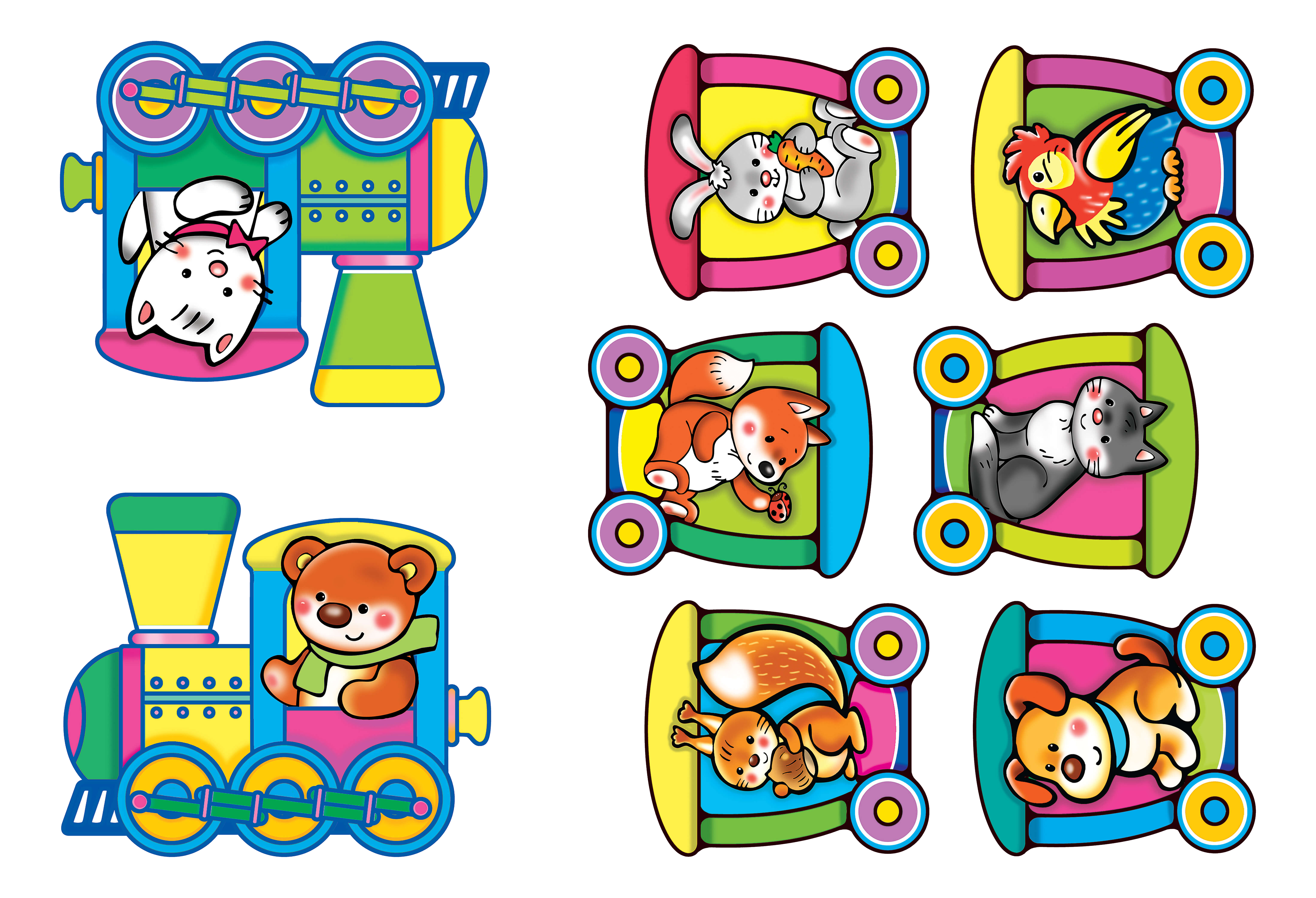 Животные в паровозике картинки