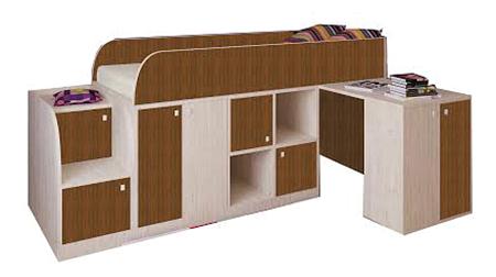 Кровать-чердак РВ мебель Астра мини дуб молочный/орех