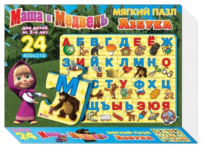 Логические игры Десятое королевство Пазл азбука Маша и Медведь разноцветный