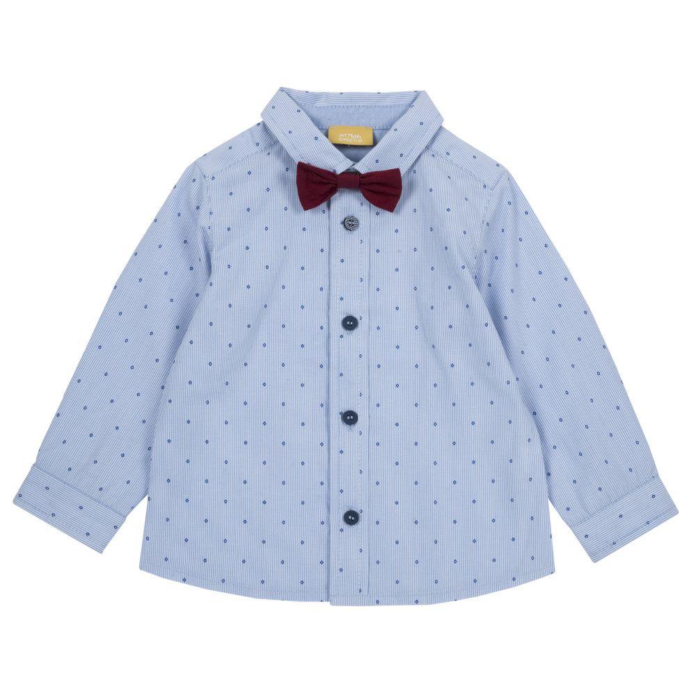 Купить 9054423, Рубашка Chicco с бордовой бабочкой р.092 цвет синий, Кофточки, футболки для новорожденных