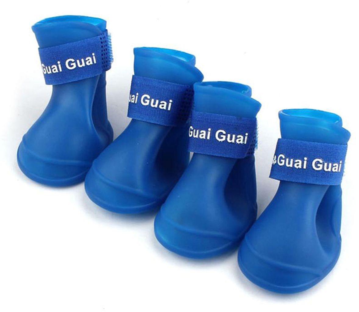 Ботинки для собак Грызлик Ам, силиконовые, синие,