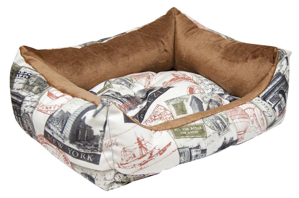 Лежак для животных Зооник Трэвел, микровелюр+вельбо, 45х52х17см