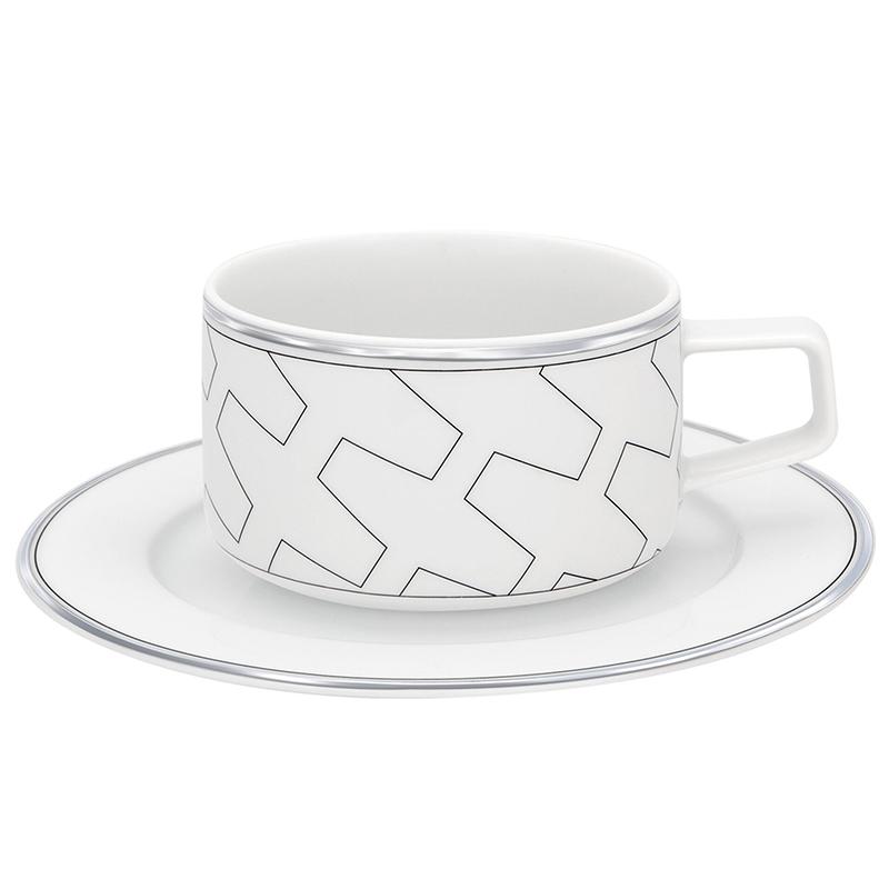 Чашка чайная с блюдцем 275мл Vista Alegre TRASSO, цвет белый, серебряный