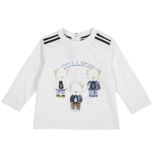 Купить 9006780, Лонгслив Chicco College для мальчиков р.80 цв.белый, Кофточки, футболки для новорожденных
