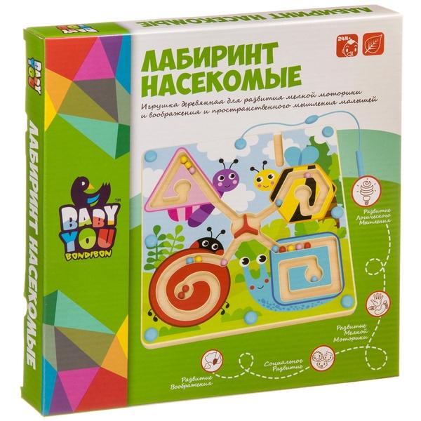 Купить Лабиринт с магнитными шариками Bondibon Насекомые , Логические игры