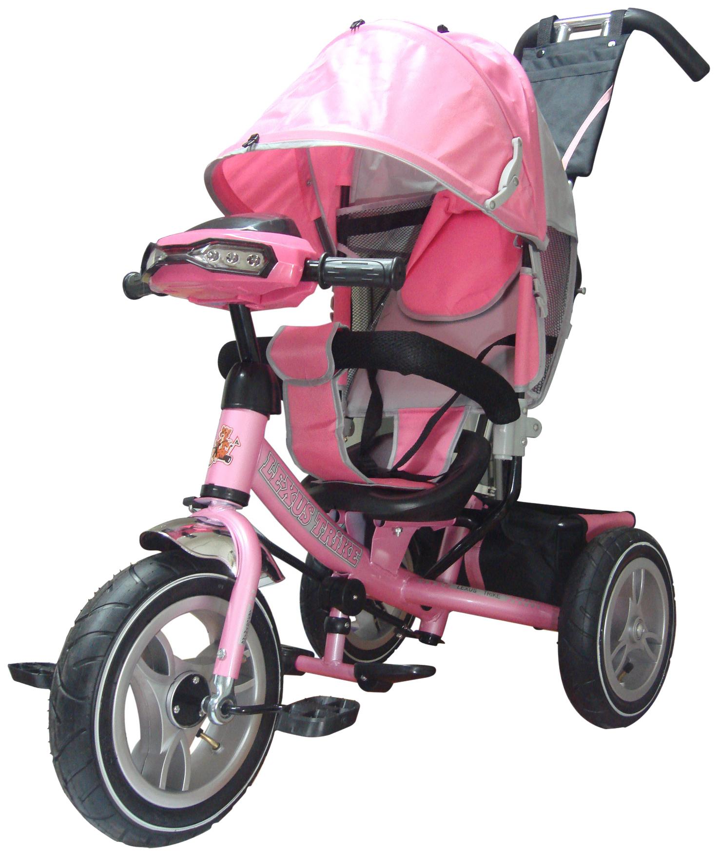 Трёхколёсный велосипед Funny Jaguar Lexus Racer Trike Air с музыкальной панелью розовый