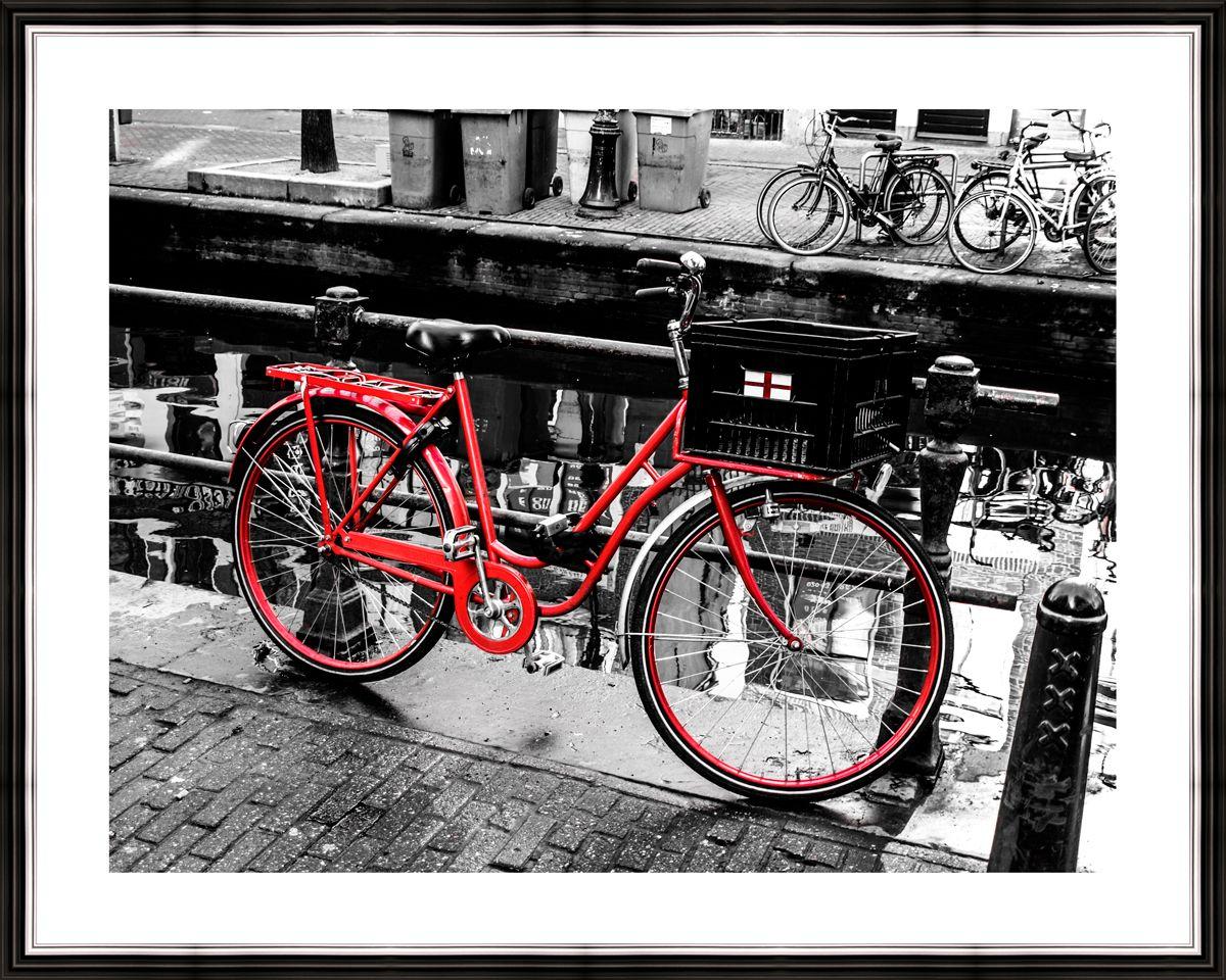 """Картина в багете 50х40 см """"Красный велосипед чб"""" Ekoramka BE-103-282"""