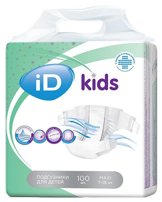 Подгузники iD NEW Детские Kids Maxi (7-18 кг) 100 шт.
