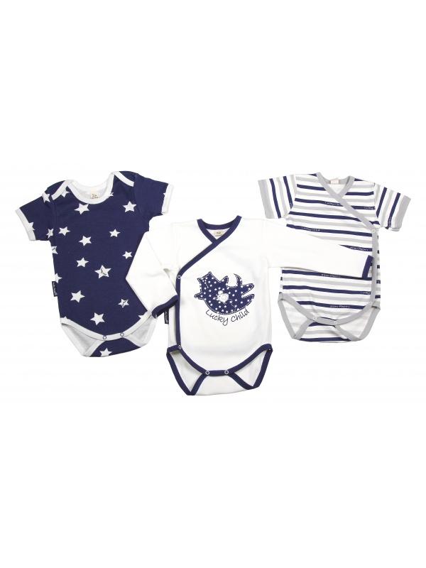 Купить Комплект боди 3 шт Lucky Child темно-синий р.86, Боди и песочники для малышей