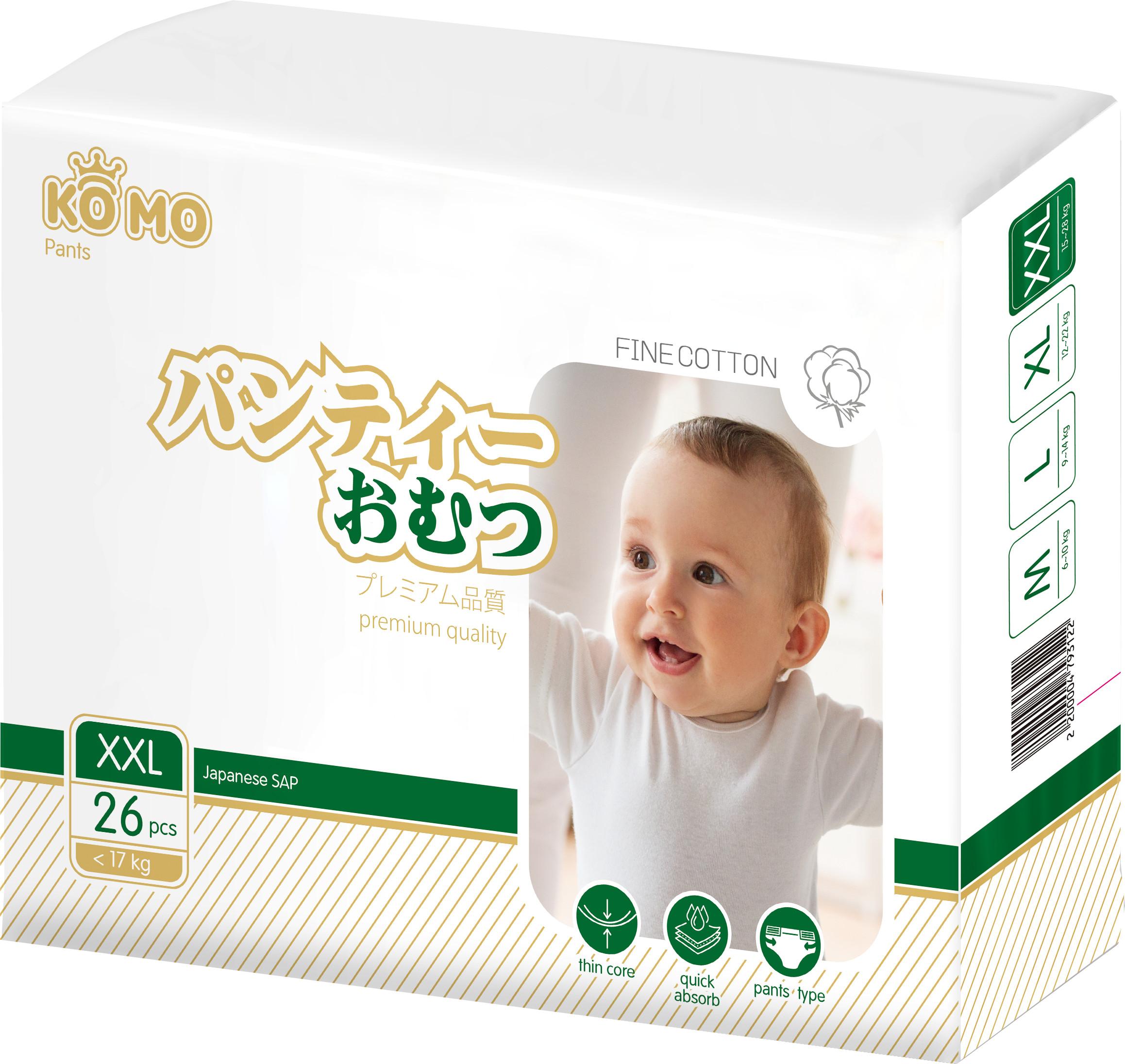 Купить Premium Quality, Трусики-подгузники Ko Mo XXL c 17 кг 26 шт., Подгузники-трусики