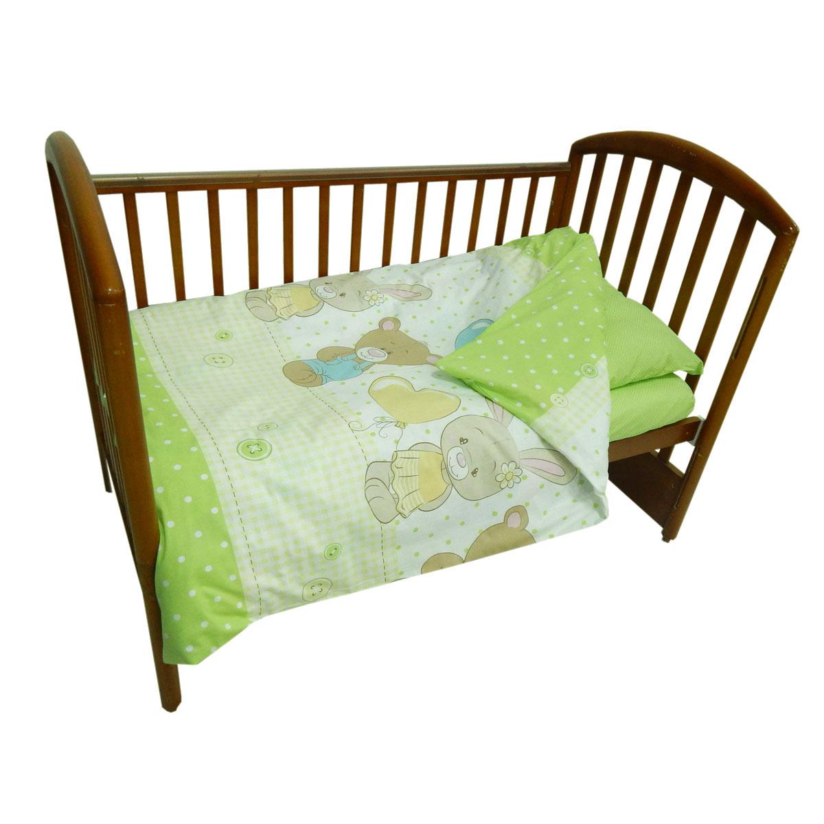 Детское постельное белье Папитто 147*112 простыня на резинке Друзья салатовый 6047