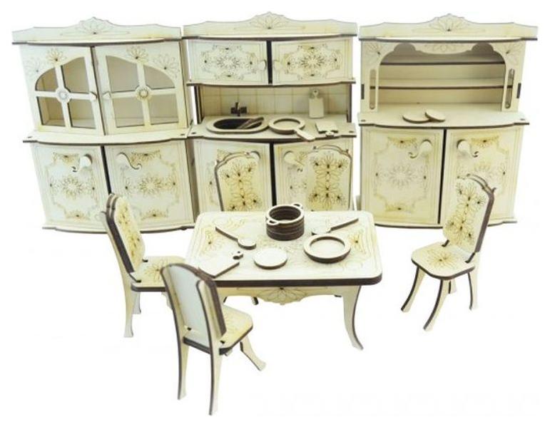 Конструктор 3D деревянный подвижный Lemmo Набор мебели кухня фото