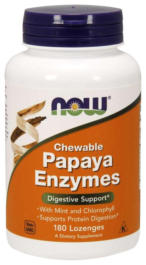 Для пищеварения NOW Papaya Enzymes папайя мята