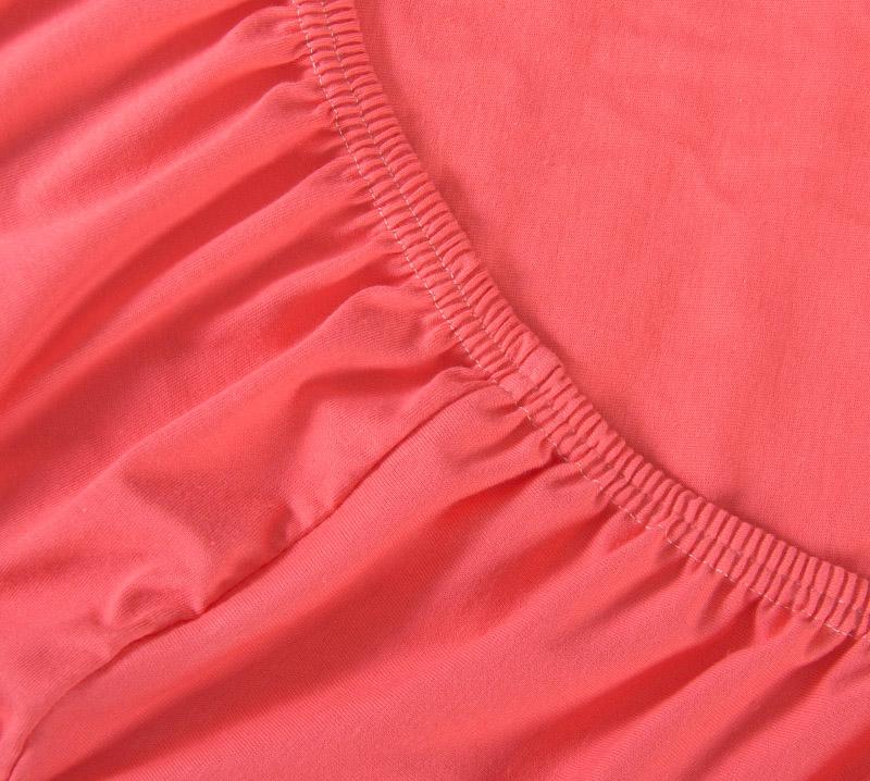 Простыня Ricotio трикотажная на резинке 90х200х20, цвет коралловый фото