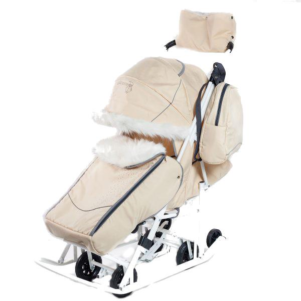 Купить Санки-коляска Pikate Снеговик Бежевый, Санки складные