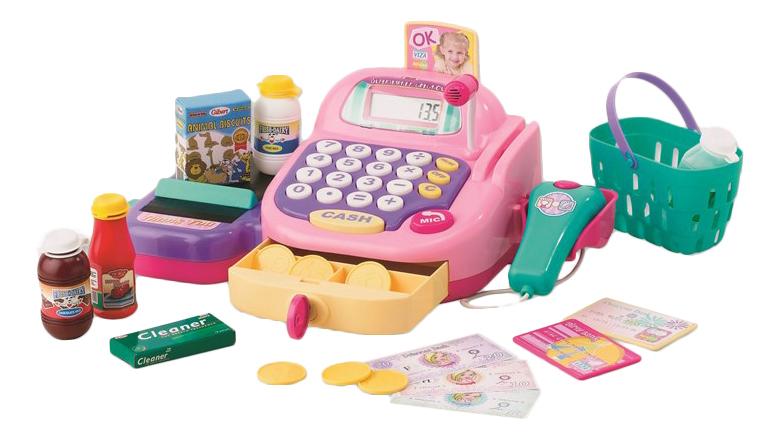Купить Кассовый аппарат, Набор-супермаркет: кассовый аппарат, продукты - свет, звук, Keenway, Игрушечные магазины