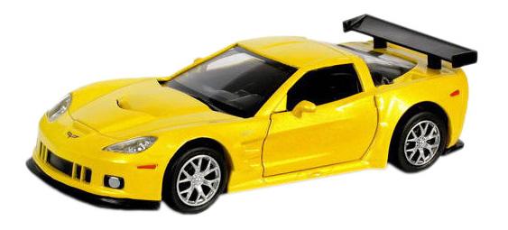 Купить Машина металлическая Uni-Fortune 1:32 Chevrolet Corvette C6-R инерционная желтый металлик,