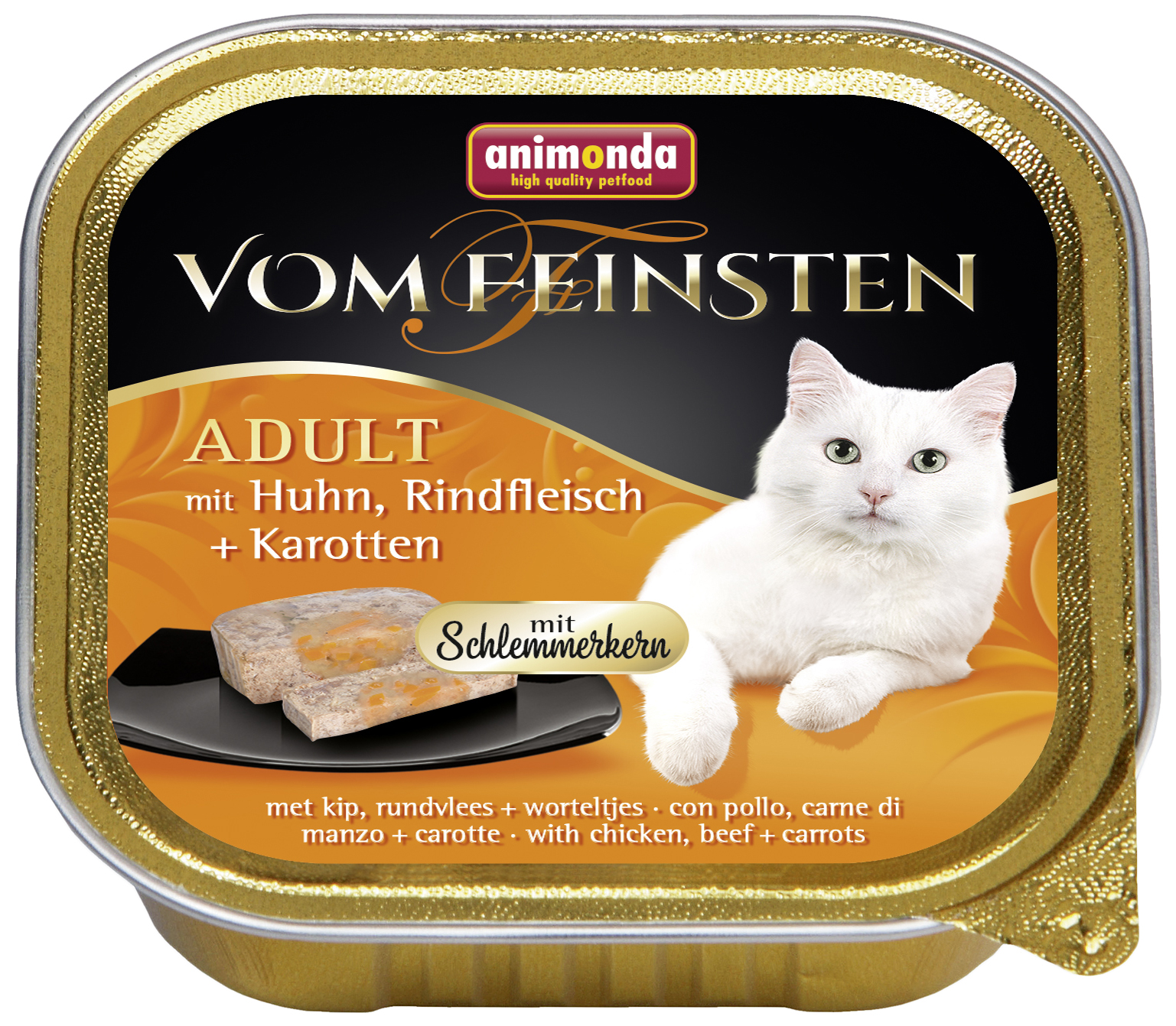 Консервы для кошек Animonda Vom Feinsten Adult, курица, говядина, овощи, 100г фото