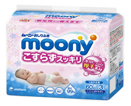 Салфетки влажные для детей Moony Влажные салфетки для детей 180 шт.