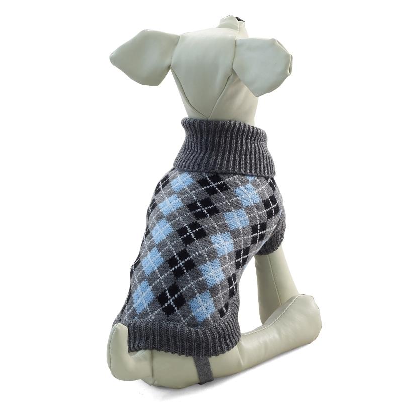Свитер для собак Triol размер M унисекс, серый, голубой, черный, длина спины 30 см фото