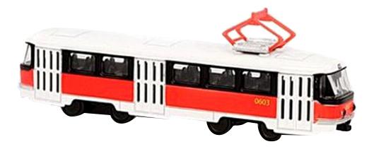 Купить Трамвай инерционный Tatra T3SU с красной полосой Автопарк Play Smart А74827 1:87, PLAYSMART, Городской транспорт