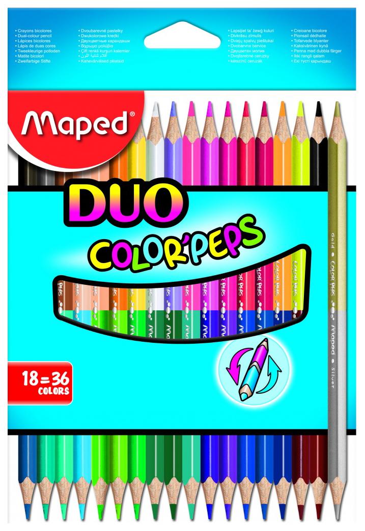 Купить Карандаши цветные Maped Color Peps Duo двухсторонние 36 цветов, 18 шт, Цветные карандаши