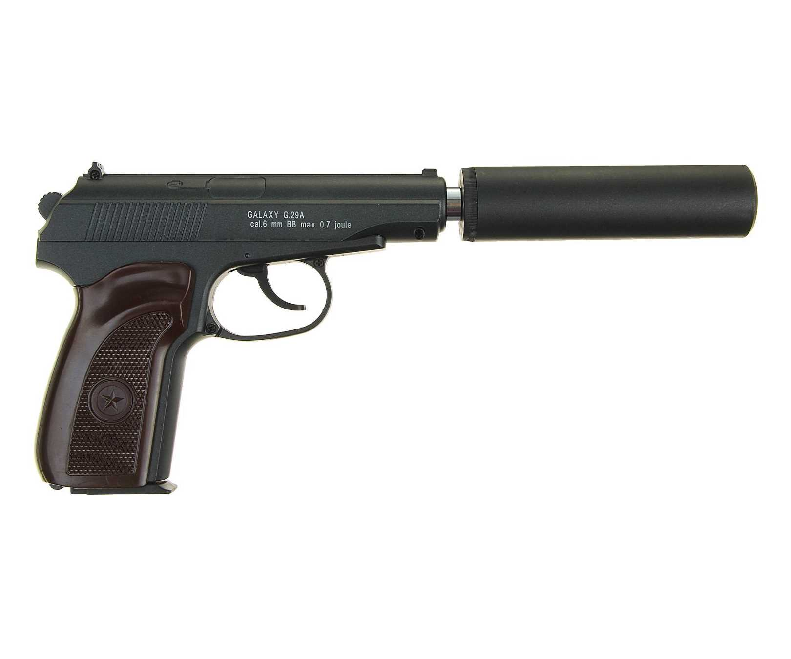 Страйкбольный пружинный пистолет Galaxy  Китай (кал. 6 мм) G.29-A (ПM с глушителем)