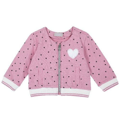 Купить 9096889, Кардиган Chicco Сердце для девочек р.86 цв.розовый, Кофточки, футболки для новорожденных