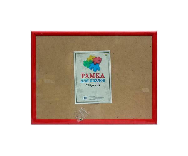 Купить Рамка для пазлов из 1000 деталей, 68х48 см, багет округлый 30 мм, цвет красный, Рыжий кот, Пазлы