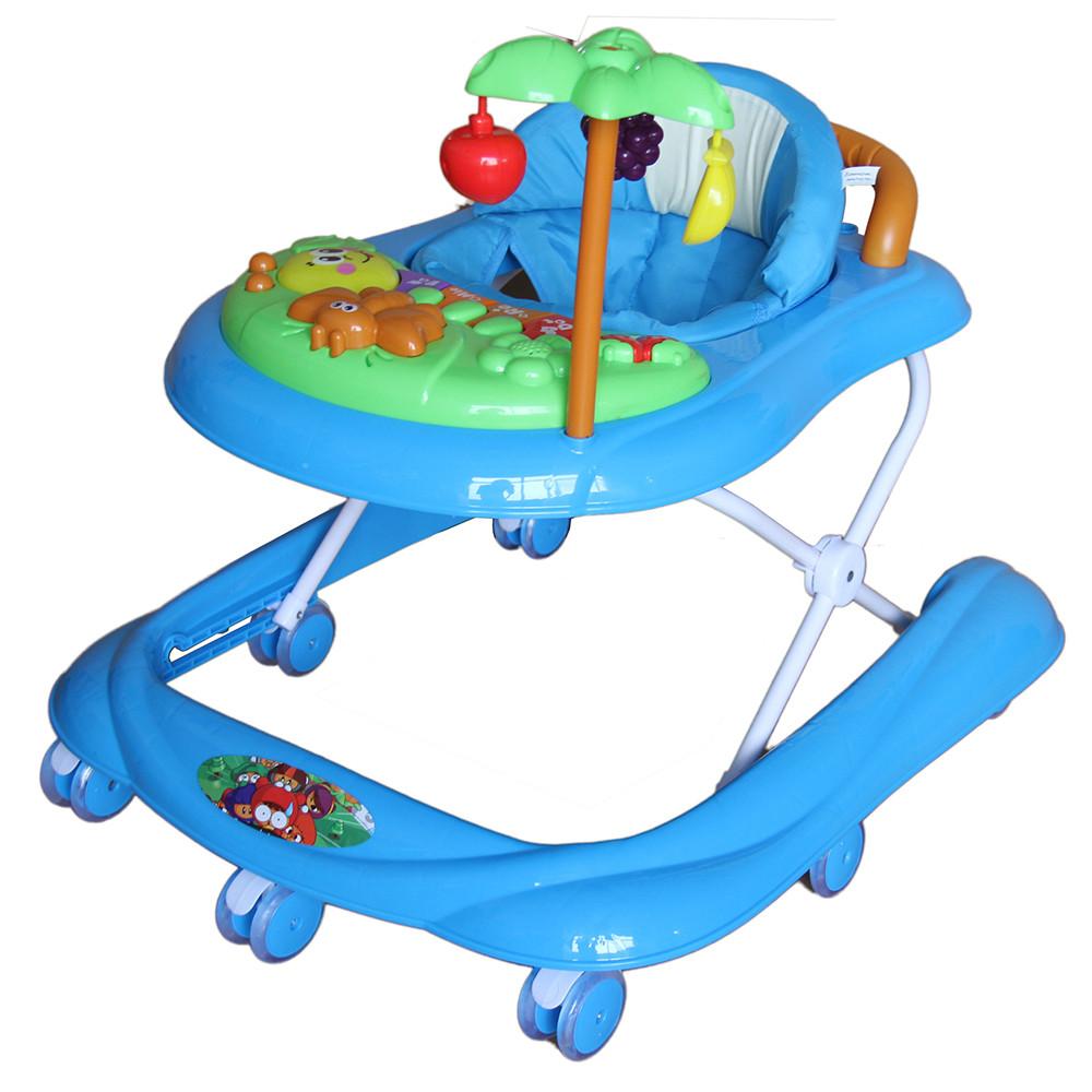 Купить BAMBOLA Ходунки ПАЛЬМА (7 колес СИЛИКОН, игрушки, муз) BLUE голубой, Ходунки детские