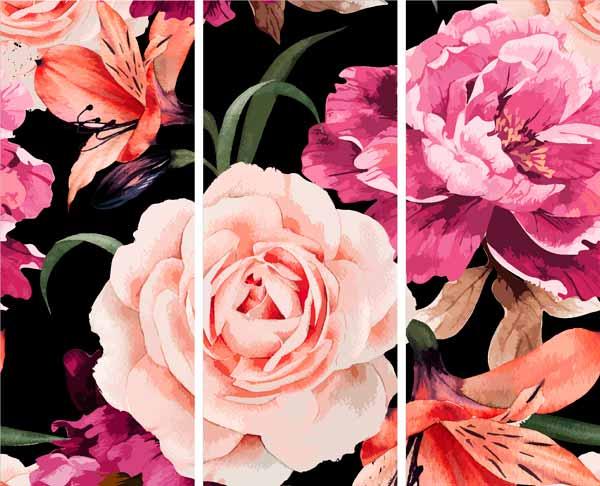 Модульная картина на холсте 60x50 Розы Ekoramka HE-107-108