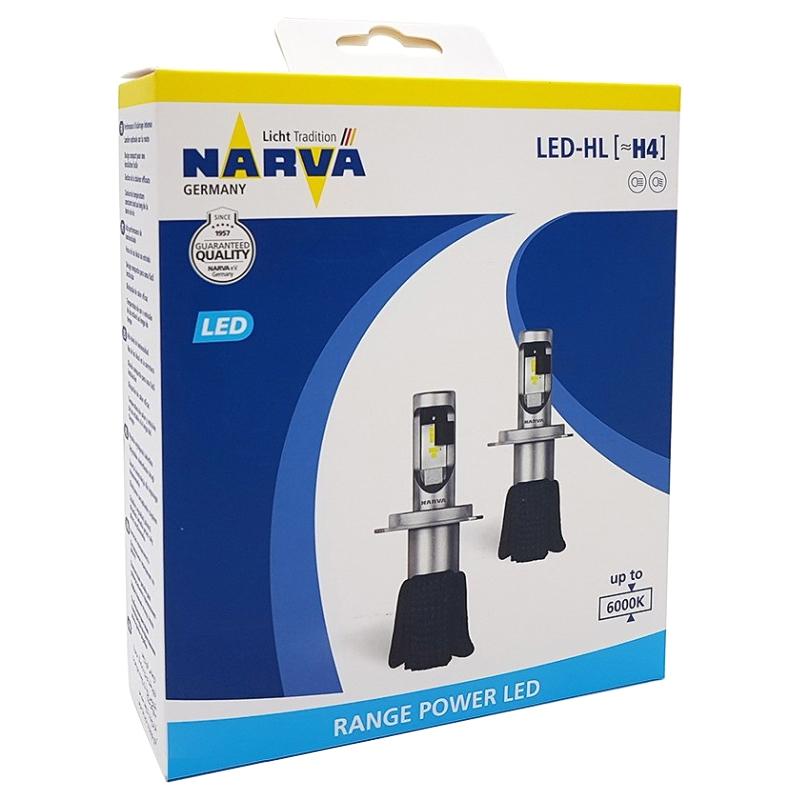 Лампа Светодиодная H4 16w 12v Range Power Led, 2шт.  NARVA