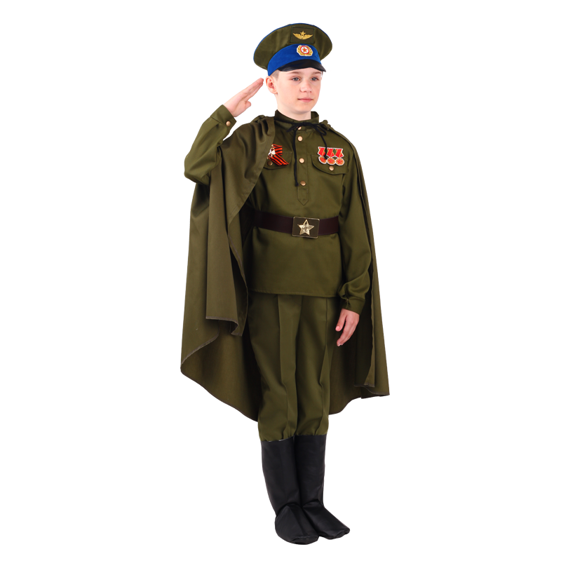 Купить 2075, Карнавальный костюм Батик Военный, цв. зеленый р.134,
