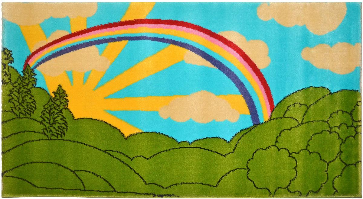 Ковер детский цвет зеленый+голубой разм, 60х110 арт, УКД-2054