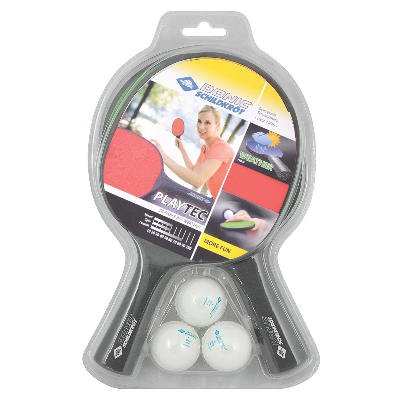 Набор для настольного тенниса Donic Playtec Outdoor, 2 ракетки, 3 мяча фото