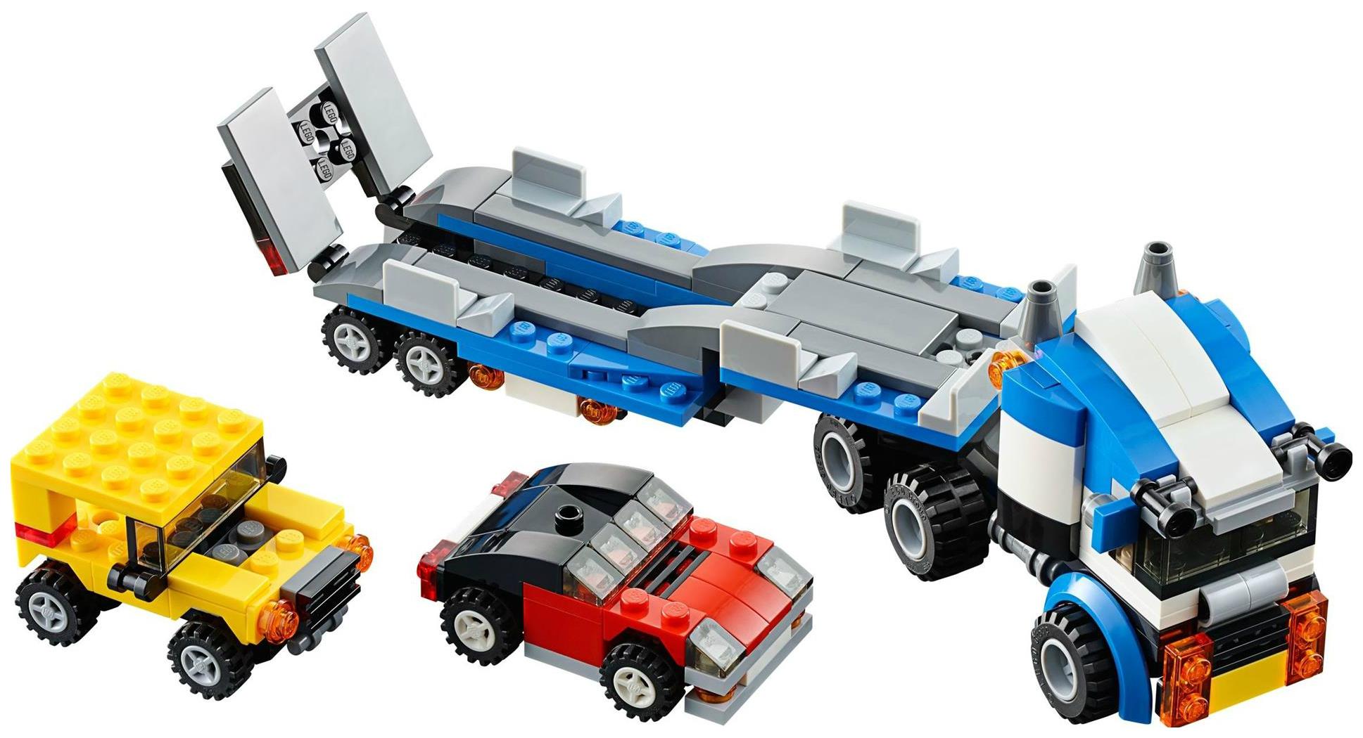 Купить Конструктор пластиковый Decool 3 в 1 Architect - Транспортировщик автомобилей, 264 детали, Конструкторы пластмассовые