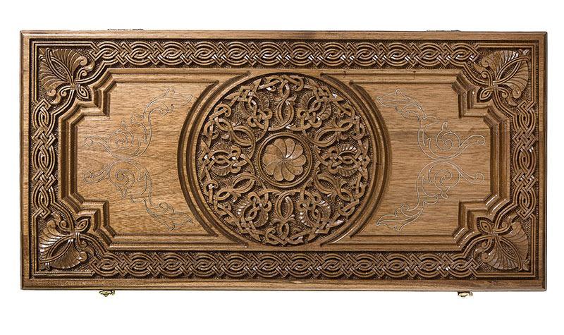 Купить Нарды резные Haleyan Армянский узор, с серебром 60 орех
