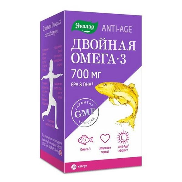 Двойная Омега-3, 700 мг, 30 капсул, Эвалар фото