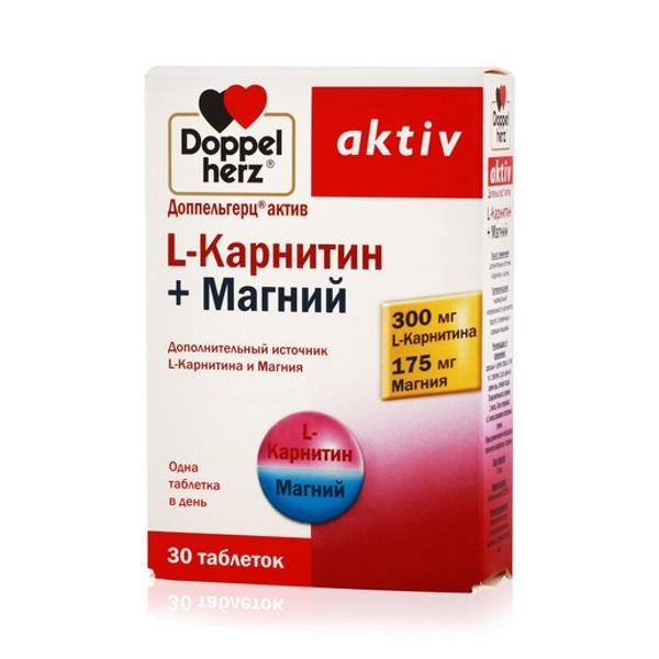 Карнитин + магний Doppelherz Актив 1220 мг таблетки 30 шт.
