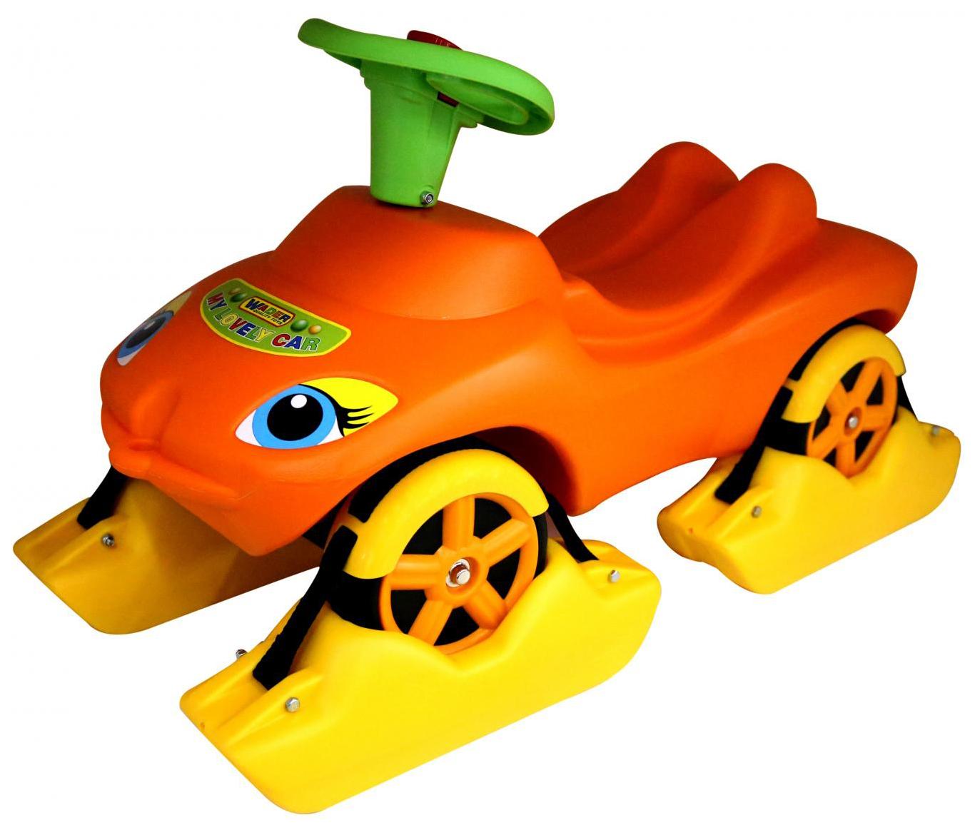 Каталка Wader Мой любимый автомобиль оранжевая со звуковым сигналом фото