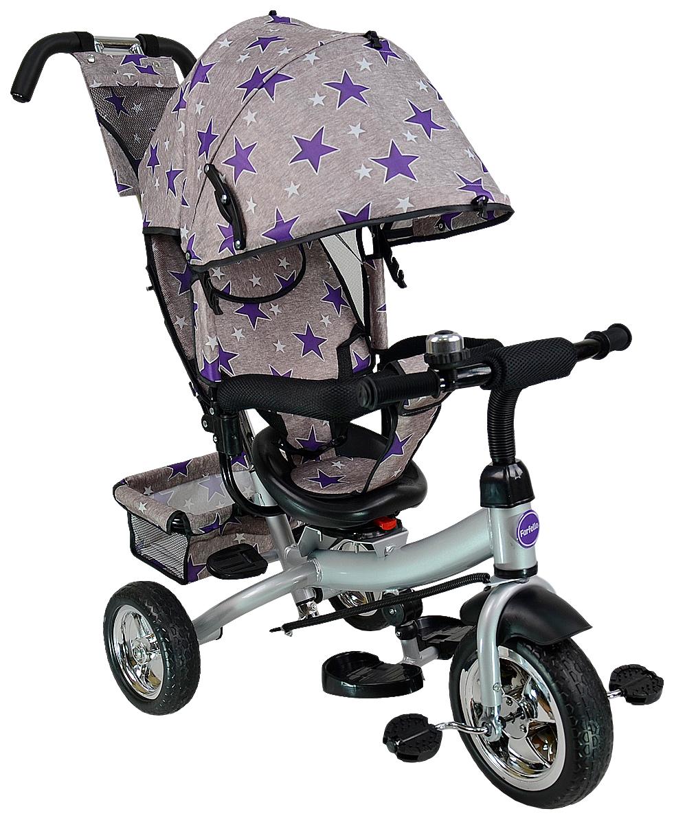 Купить Велосипед трехколесный Farfello TSTX6588 серый с фиолетовыми звездами, Детские велосипеды-коляски