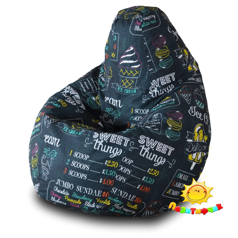 Кресло-мешок Pazitif Груша Пазитифчик Айскрим 01, размер M, жаккард, разноцветный фото