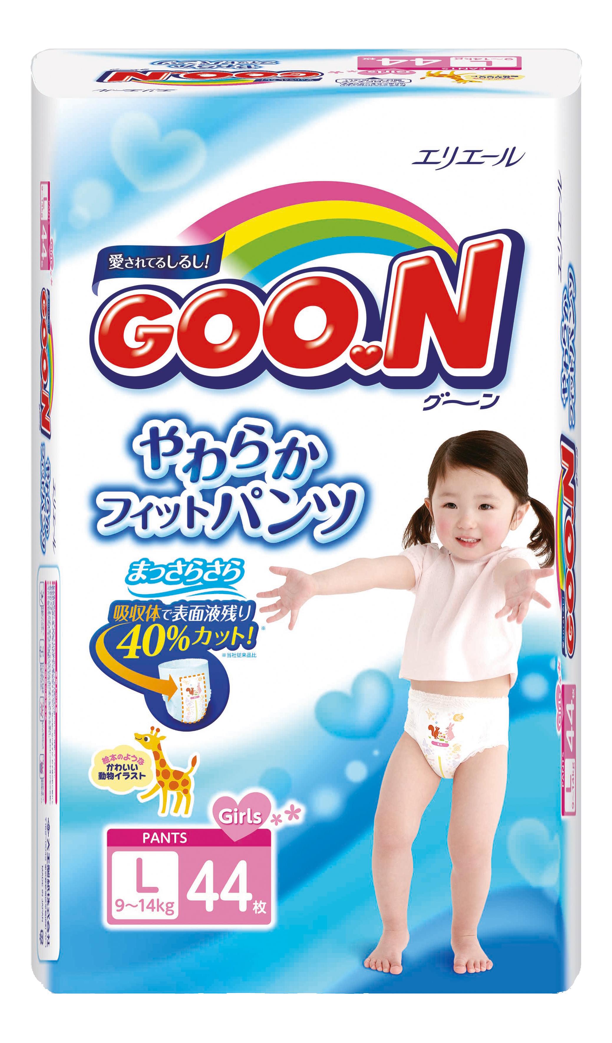 Подгузники-трусики Goon для девочек L (9-14 кг), 44 шт.
