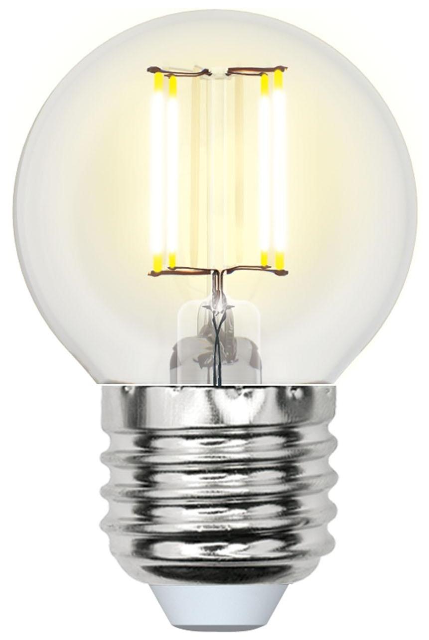 Лампа светодиодная (UL-00000196) E27 6W 3000K шар прозрачный LED-G45-6W/WW/E27/CL