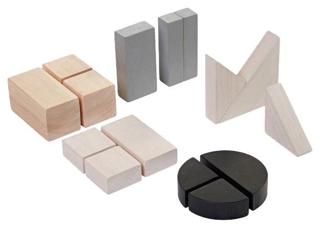 Конструктор деревянный PlanToys Геометрия Блоки 15 деталей, Деревянные конструкторы  - купить со скидкой