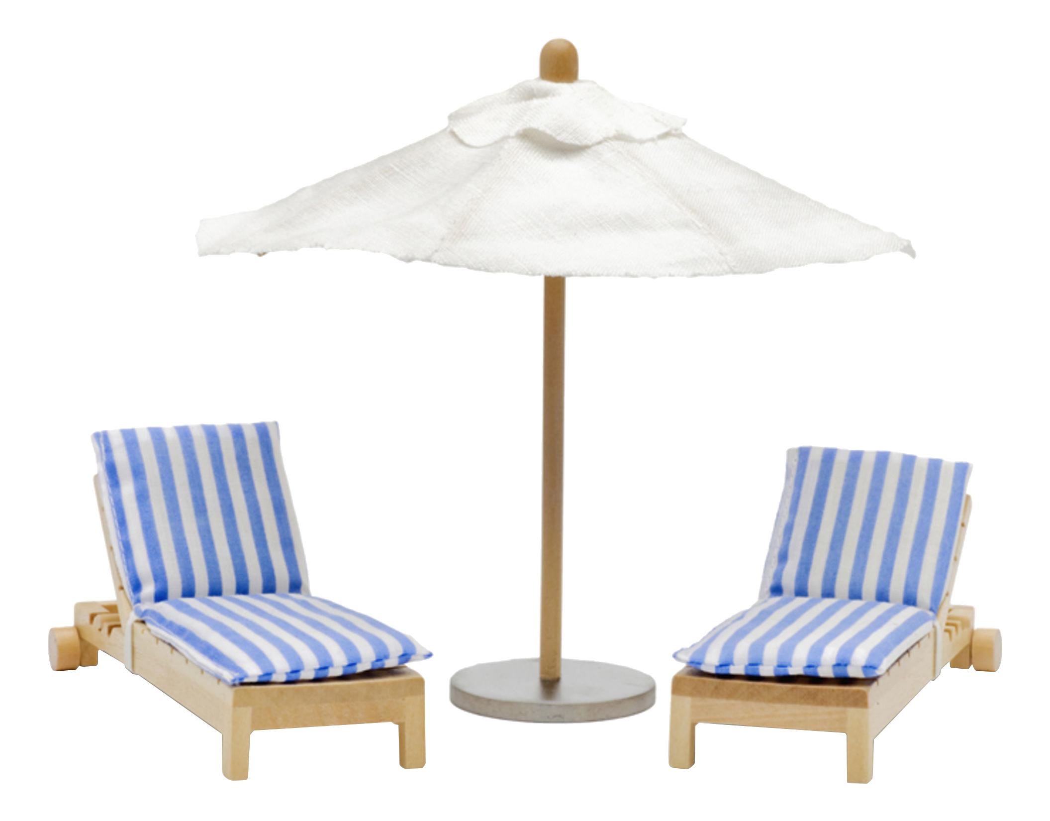 Шезлонги с зонтиком LB_60904800 для домиков Lundby фото