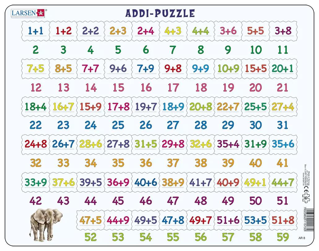 Купить Математика. Сложение, Пазлы Larsen обучающий Математика Сложение 58 элементов AR8