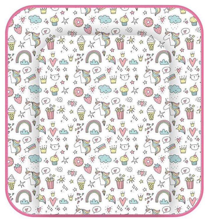 Доска пеленальная Polini Kids Единорог Сладости мягкая на комод, 77х72см, Розовый