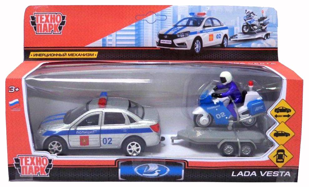 Купить Машина спецслужбы Технопарк Полицейская машина LADA VESTA + Мотоцикл на прицепе Полиция,